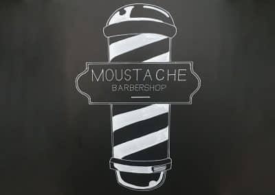 Krijtbord Moustache Barbershop